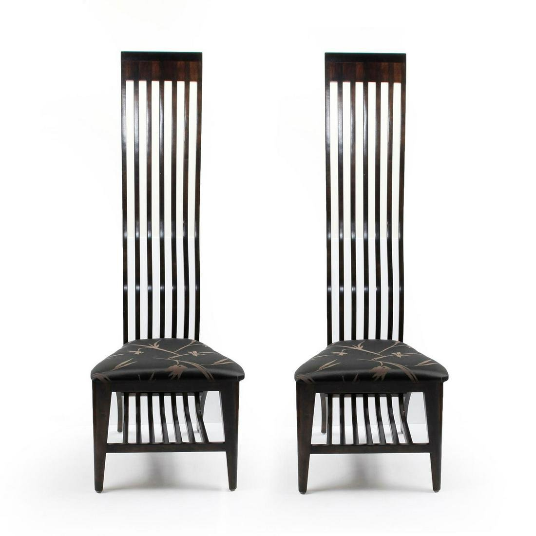 2 CONTEMPORARY JAPONESQUE ACCENT CHAIRS