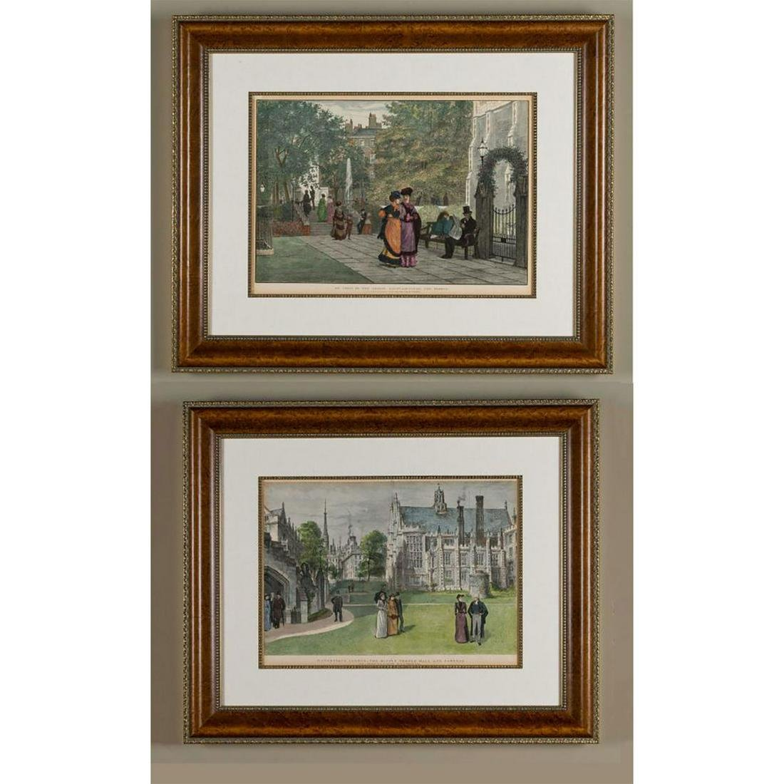 2 VICTORIAN ENGRAVED PRINTS, THE MIDDLE TEMPLE LONDON