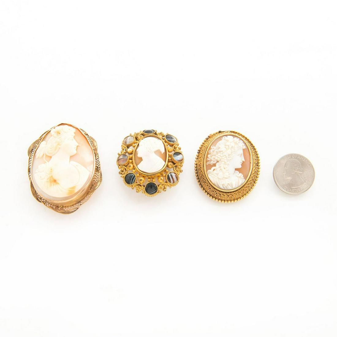 THREE 19TH CENTURY VICTORIAN JEWELRY CAMEO BROOCH PINS