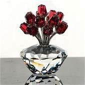 SWAROVSKI CRYSTAL FIGURE, RED ROSES