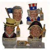 4 SM ROYAL DOULTON CHARACTER JUG AND LIQUOR CONTAINERS