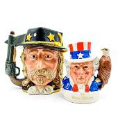 DOULTON DOUBLE FACED CHARACTER JUG AND LIQUOR CONTAINER