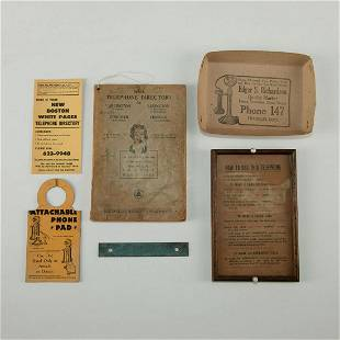 6 ANTIQUE TELEPHONE DIRECTORY AND ADVERTISING PIECES