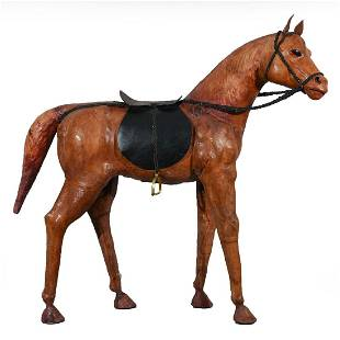 WOODEN LEATHER WRAPPED 52 TALL HORSE STATUE