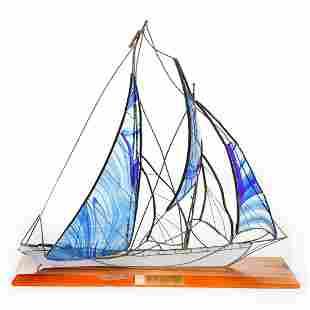 VINTAGE GLASS AND METAL SAILING SHIP SCOONER HINDU