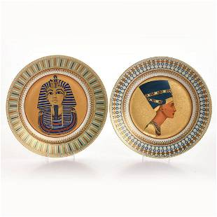 2 KAISER EGYPTIAN KING AND QUEEN WALL CHARGERS