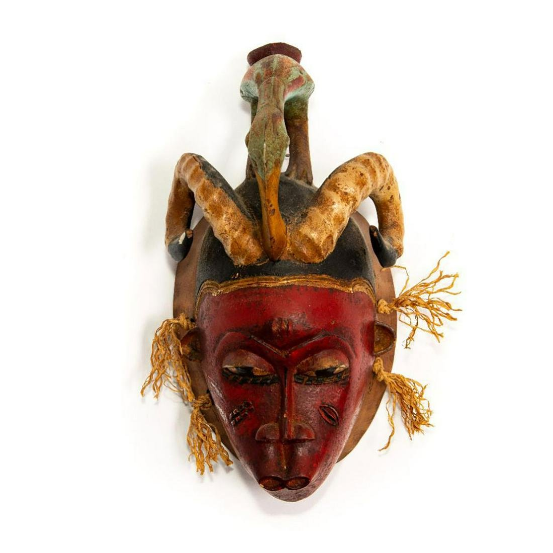 VINTAGE AFRICAN DECORATED WOODEN WALL MASK