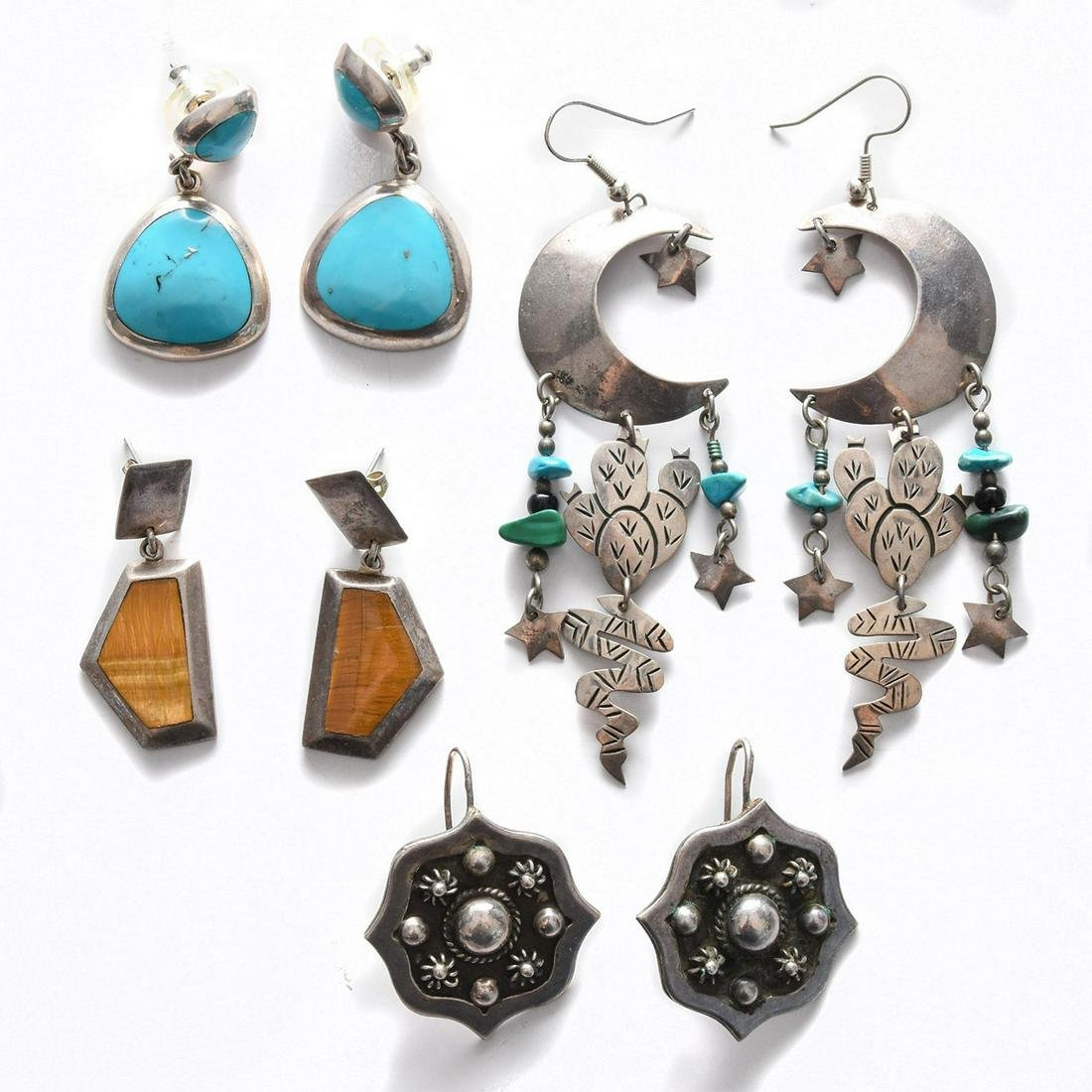 4 PAIRS, MEXICAN SILVER EARRINGS
