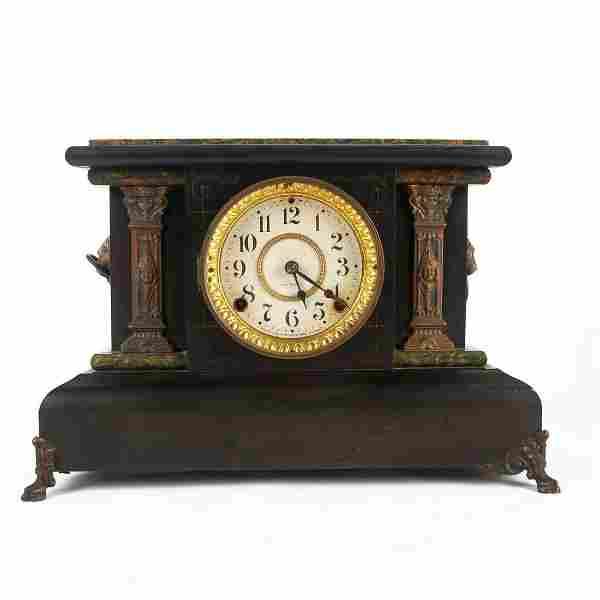 ANTIQUE VICTORIAN SETH THOMAS ADAMANTINE MANTLE CLOCK
