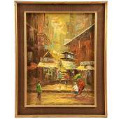 THAILAND MARKET SCENE OIL PAINTING, SIGNED