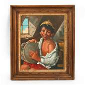 OIL ON CANVAS OF YOUNG BOY PLAYING TAMBOURINE