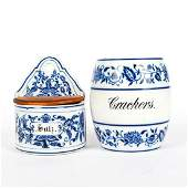 CERAMIC DELFT WARE CRACKER JAR AND WALL SALT CONTAINER