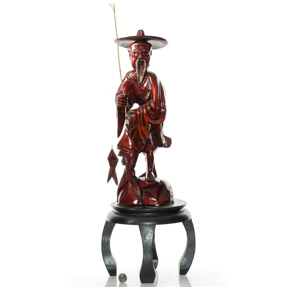HAND CARVED CHERRYWOOD CHINESE FISHERMAN STATUE & BASE