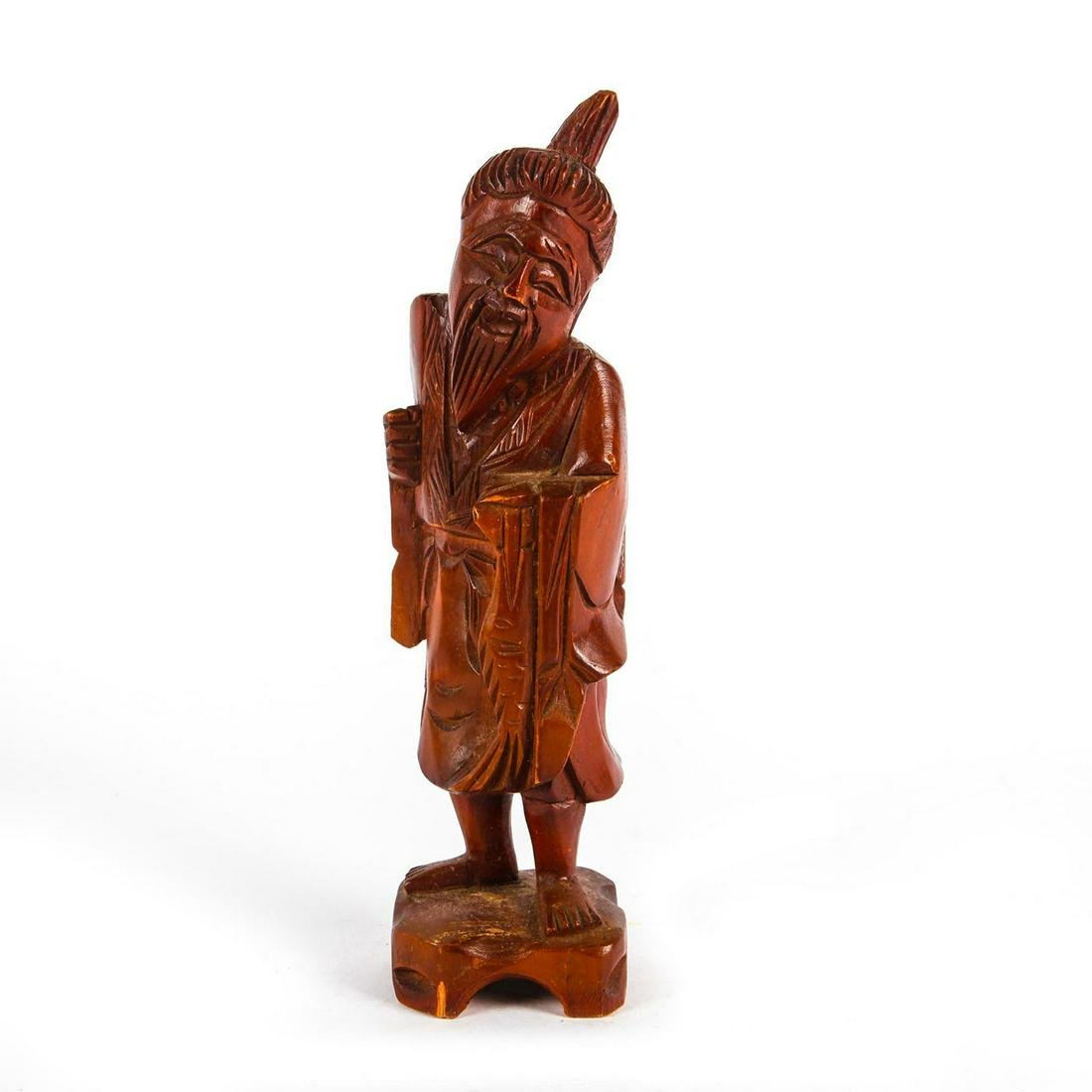 VINTAGE CARVED WOODEN CHINESE FISHERMAN SCULTURE