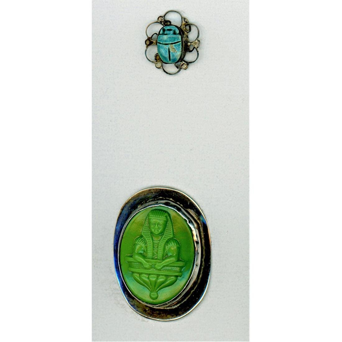 TWO EGYPTIAN THEME SET IN METAL BUTTONS