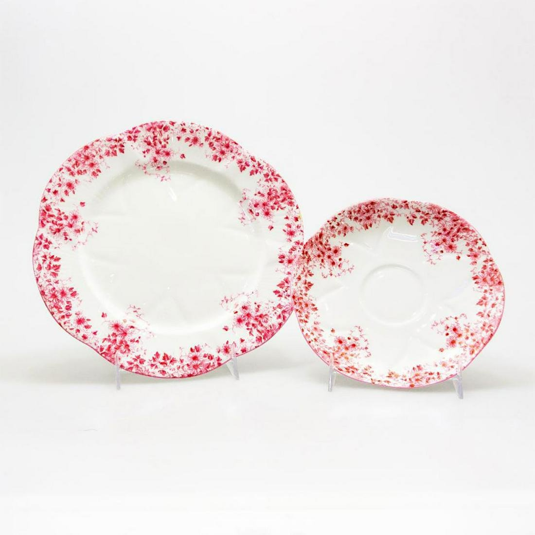 SHELLEY BONE CHINA VINTAGE ART DECO PLATES, DAINTY PINK