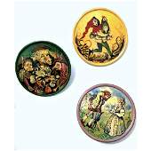 1 Small Card Of Russian Hand Painted Wood Buttons