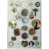 A Card Of Assorted Div 1 And 3 Ceramic Buttons