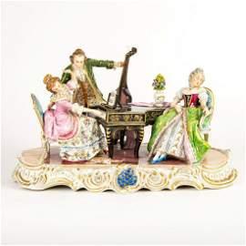 Large German Porcelain Figural Group, Musicians