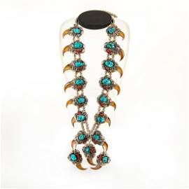 Native American Navajo Bear Claw Squash Necklace