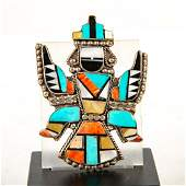 Native American Zuni Sterling Silver Knifewing Mosaic