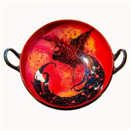Royal Doulton Sung Flambe Two Handle Tazza with Bird