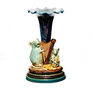 Doulton Lambeth Tinworth Figural Vase, Mice Musicians