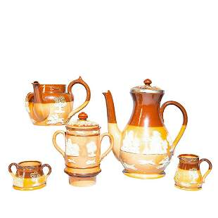5PC Doulton Lambeth Hunting Ware Coffee Pot and Teapot