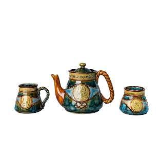3PC Doulton Lambeth Stoneware Lidded Teapot Set