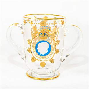 English Art Glass Loving Cup, George VI And Elizabeth