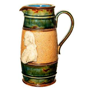 Doulton Lambeth Stoneware Whisky Pitcher with High