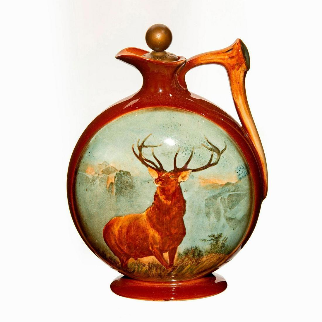 Royal Doulton Kingsware Dewars Whisky Flask, Monarch Of