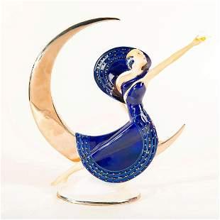 Franklin Mint Art Deco Figurine Moonlight In Platinum