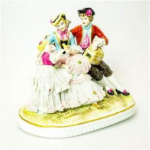 Vintage German Porcelain Figural Group, Day In The Park