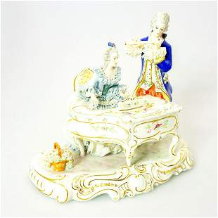 Vintage German Porcelain Figural Group, Duet