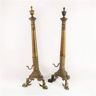 Pair of Vintage Brass Andirons