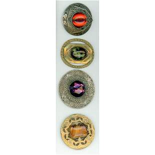 SMALL CARD OF JEWELED AND GAY 90 TYPE BUTTONS
