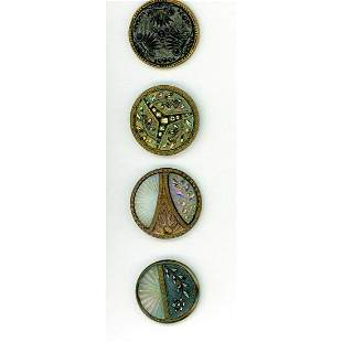SMALL CARD OF GLASS AND BLACK GLASS BUTTONS SET IN