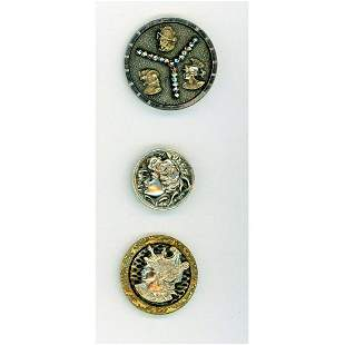 THREE DIVISION ONE BRASS AND SILVER HEAD BUTTONS