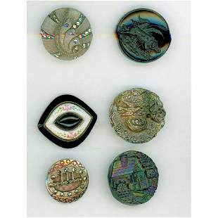 SMALL CARD OF DIVISION 1 BLACK GLASS BUTTONS