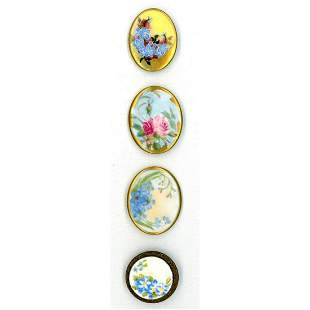 SMALL CARD OF LIMOGES HAND DECORATED PORCELAIN BUTTONS