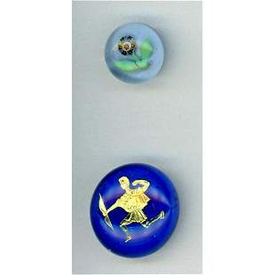 TWO DIVISION THREE GLASS PAPERWEIGHT BUTTONS.