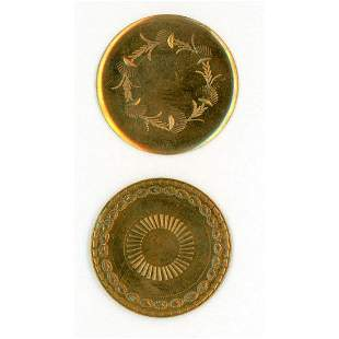 A SMALL CARD OF ENGRAVED/CHASED 18TH C. COPPER BUTTONS