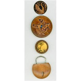 SMALL CARD OF DIV. 3 ASSORTED WOOD PICTORIAL BUTTONS
