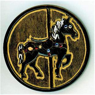 ONE DIVISION THREE CARVED WOOD BUTTON BY LEO CRABTREE