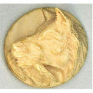 ONE DIVISION ONE HIGH RELIEF CARVED ANIMAL BUTTON