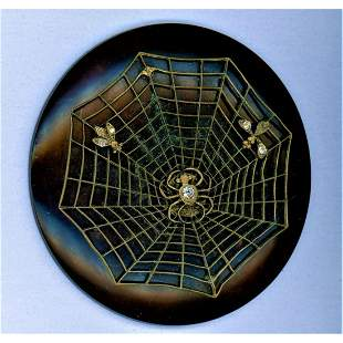 A VERY RARE EARLY 20TH C. CASEIN BUTTON WITH SPIDERS