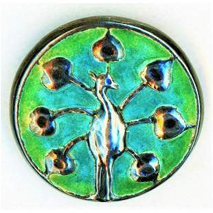 1 DIVISION ONE LIBERTY CYMERIC ENAMEL PEACOCK BUTTON
