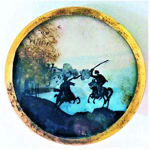 AN INCREDIBLE 18TH CENTURY SILHOUETTE SCENE BUTTON