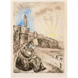 Framed Marc Chagall Etching, David Mourns Absalom